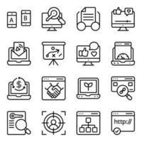 pacchetto di icone lineari web e networking vettore