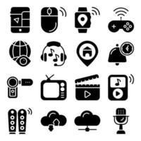 pacchetto di icone solide di dispositivi intelligenti vettore
