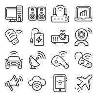 confezione di icone lineari di dispositivi vettore