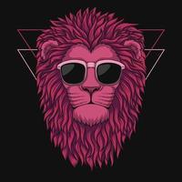 illustrazione vettoriale testa di leone rosa