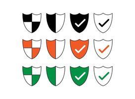 illustrazione vettoriale di icone scudo impostate per sito Web e app mobile