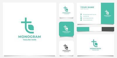 semplice e minimalista lettera t e logo foglia con modello di biglietto da visita vettore