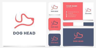 logo della testa di cane di linea semplice e minimalista con modello di biglietto da visita vettore