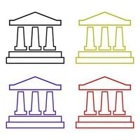 banca impostata su sfondo bianco vettore