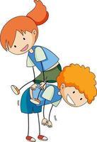 scarabocchio del personaggio dei cartoni animati dei bambini isolato vettore