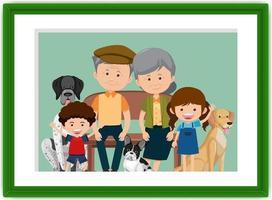 foto di famiglia felice in stile cartone cornice vettore