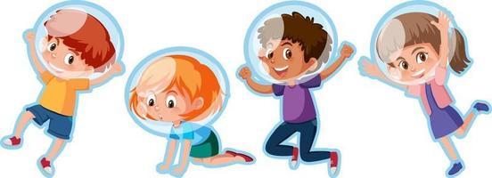 set di diversi personaggi dei cartoni animati di bambini felici vettore
