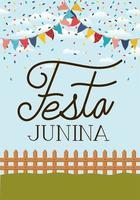 festa junina con recinzione e ghirlande vettore