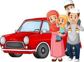 famiglia musulmana accanto alla macchina vettore