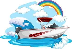 un motoscafo in mare su sfondo bianco vettore