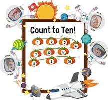 conta fino a dieci tabellone con molti bambini in costume da astronauta vettore
