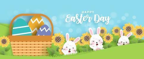 sfondo e banner di giorno di Pasqua vettore