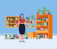 giovane donna in piedi nella sala della biblioteca vettore