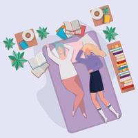 giovani donne che si rilassano nel materasso in camera da letto vettore