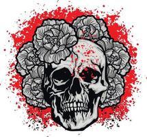 segno gotico con teschio e fiori, magliette di design vintage grunge vettore