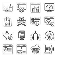 pacchetto di seo e icone lineari web vettore