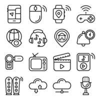 pacchetto di icone lineari di dispositivi intelligenti vettore