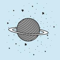 Il pianeta spaziale e le stelle progettano l'illustrazione di vettore