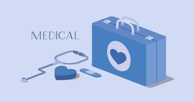 disegno isometrico del kit medico vettore