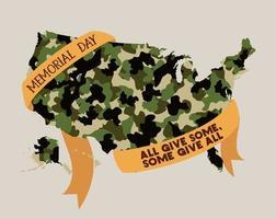 Mappa degli Stati Uniti con mimetica e nastro dell'emblema del memorial day vettore