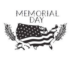 Mappa degli Stati Uniti con la bandiera dell'emblema del memorial day vettore