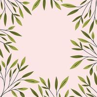 decorazione cornice naturale foglie verdi vettore
