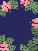 design del telaio di foglie e fiori tropicali vettore