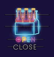 bottiglie di birra in un cestino, luce al neon vettore