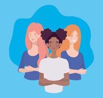 gruppo di giovani donne interrazziali in piedi personaggi vettore