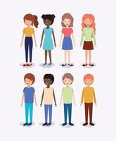 gruppo di diversi personaggi per bambini vettore