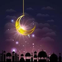 paesaggio urbano di Ramadan Kareem con impiccagione di luna dorata vettore