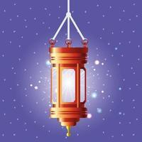 ramadan kareem lanterna dorata appesa vettore