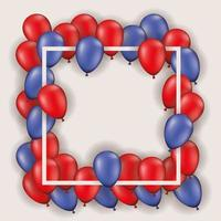 cornice quadrata con palloncini rossi e blu vettore
