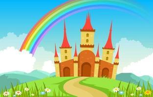 arcobaleno del palazzo del castello nell'illustrazione del paesaggio delle fiabe del paese delle fate vettore