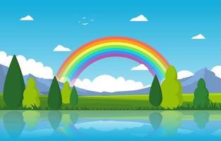 arcobaleno sopra laghetto lago natura paesaggio paesaggio illustrazione vettore