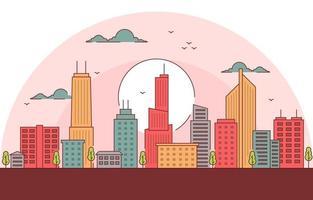 skyline della città al tramonto illustrazione vettore