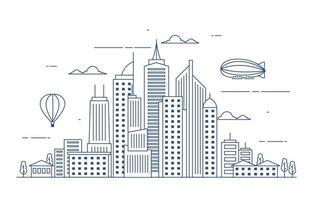 giorno urbano città costruzione paesaggio urbano paesaggio illustrazione al tratto vettore
