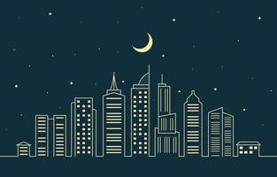 illustrazione al tratto di paesaggio urbano della costruzione della città urbana di notte vettore