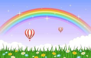 bellissimo arcobaleno in estate natura paesaggio paesaggio illustrazione vettore