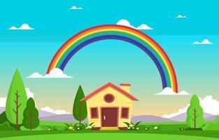 piccola casa con arcobaleno estate natura paesaggio illustrazione vettore