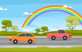 illustrazione di paesaggio di paesaggio di natura arcobaleno strada di montagna vettore