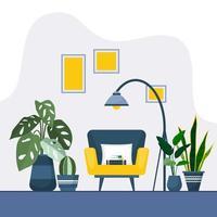 illustrazione interna della casa della pianta decorativa verde della pianta d'appartamento tropicale vettore
