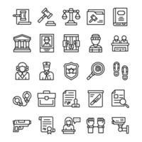 set di icone di giustizia e legge con stile di arte di linea vettore