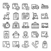 set di icone di spedizione con stile art line vettore