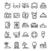set di icone di vacanza con stile arte linea. vettore