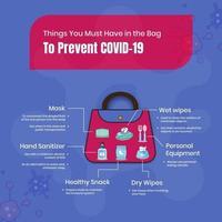 cose che devi avere nella borsa per prevenire il covid-19 vettore