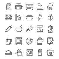 set di icone di cucina con stile di arte di linea. vettore