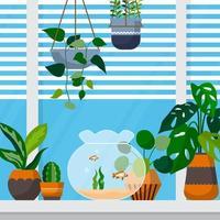 illustrazione della casa della finestra della pianta decorativa verde della pianta d'appartamento tropicale vettore