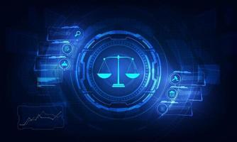concetto di servizio tecnologico di consulenza legale con attività che lavorano con il moderno computer dell'interfaccia utente. vettore