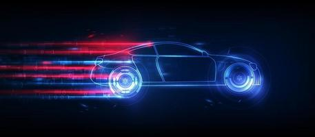 ologramma in stile hud ui. servizio auto futuristico, scansione e analisi dei dati auto, interfaccia grafica virtuale. vettore illusatration